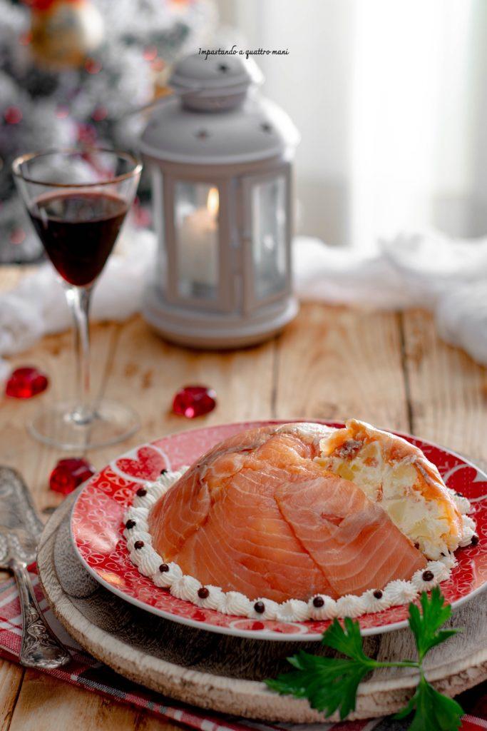 zuccotto al salmone con formaggio e patate