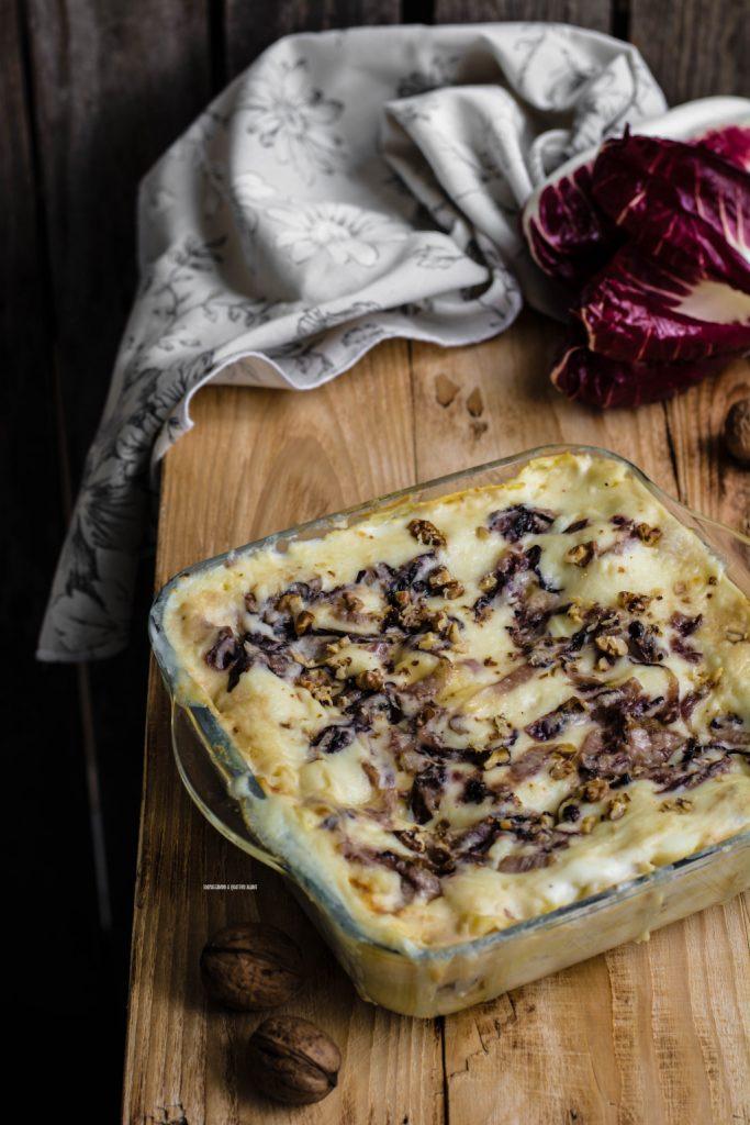 lasagne con radicchio caramellato e noci
