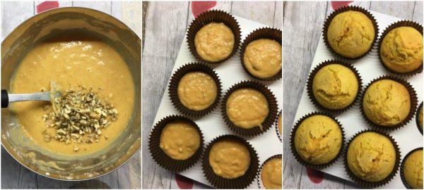 preparazione dei cupcakes alla zucca con noci nei pirottini, con frosting al mascarpone e ideali per halloween