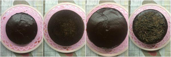 preparazione e finitura della devil's food cake la torta al cioccolato di Nigella Lawson