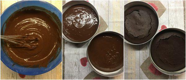 preparazione della devil's food cake la torta al cioccolato di Nigella, cottura