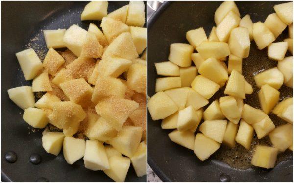 preparazione dei muffin alle mele con uvetta e noci, caramellare mele