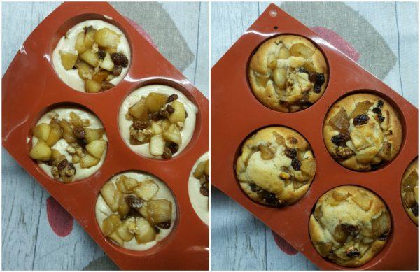preparazione e cottura dei muffin con mele noci e uvetta