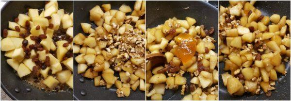 preparazione dei muffin con mele. noci e uvetta