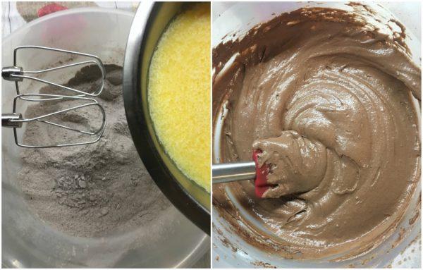preparzione dei muffin al cacao amaro con gocce di cioccolato fondente