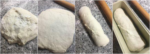 preparazione pan bauletto con pasta madre