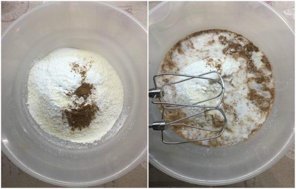 preparazione del plumcake al cocco con latte di cocco e cocco rapè
