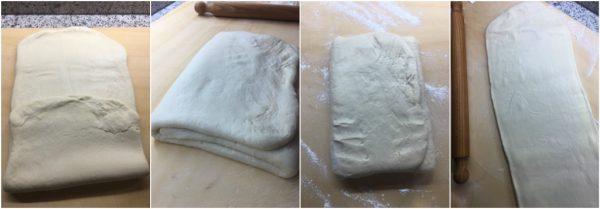 preparazione croissant francesi, sfogliatura pieghe a tre