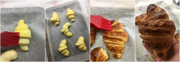 preparazione croissant sfogliati francesi cottura e lucidatura