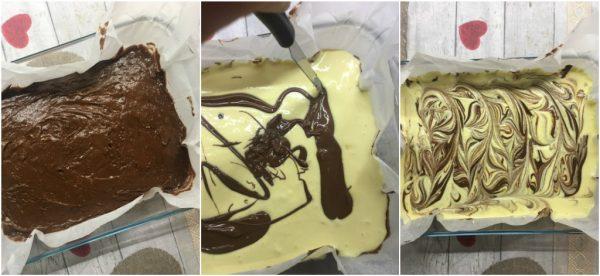 preparazione nutella brownies cheesecake con mascarpone e nutella