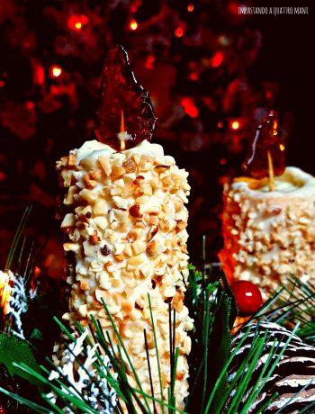 candele di pasta frolla con crema al cioccolato bianco, idea natale, centrotavola o segnaposto