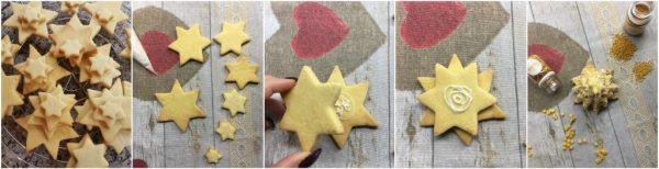 preparazione alberelli di natale di pasta frolla per decorare la tavola natalizia