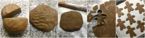 preparazione biscotti pan di zenzero, gingerbread man, ricetta natale