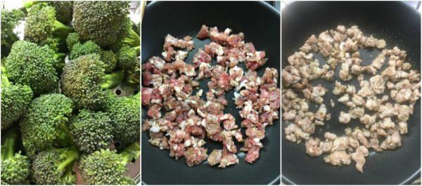 preparazione della torta salata di pasta brisé con broccoli al vapore e salsiccia, con mascarpone e provola