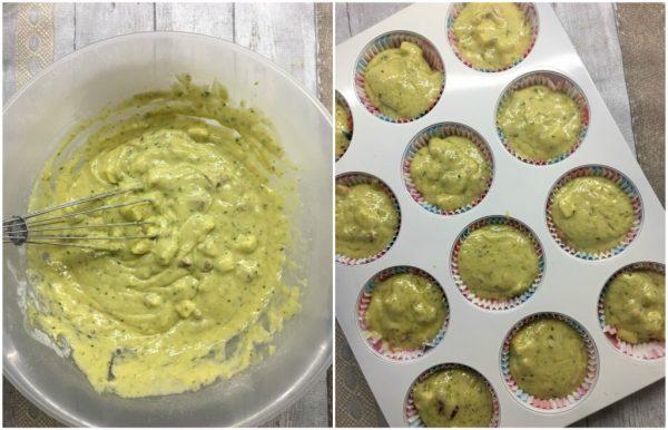 preparazione dei muffin salati con pesto di basilico, pinoli e pomodori secchi
