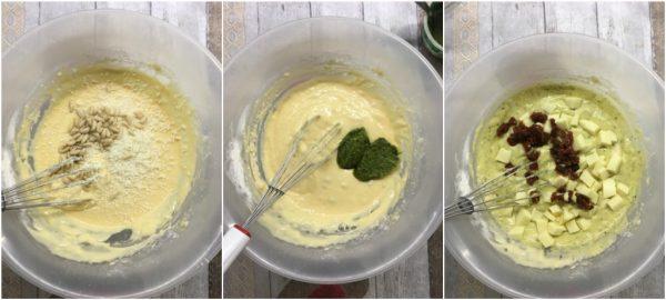 preparazione dei muffin salati con pesto di basilico, pomodori secchi e pinoli