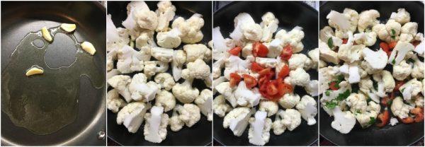 preparazione pasta con il cavolfiore, un primo piatto sano e leggero