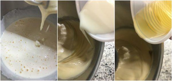 preparazione delle torta girella con cacao e crema pasticcera