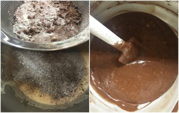 preparazione della torta girella con cacao e crema pasticcera