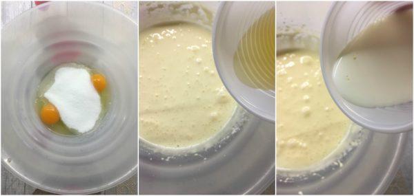 preparazione della torta versata con confettura