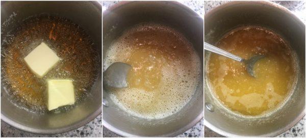preparazione della salsa mou, la salsa al caramello