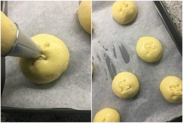 preparazione veneziane con crema pasticcera