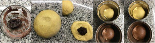 preparazione e pezzature del pan brioche arancia e cacao