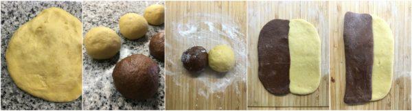 preparazione e formatura del pan brioche con arancia e cacao