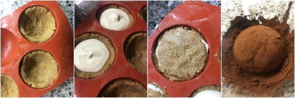 preparazione e montaggio del tartufo semifreddo al tiramisù