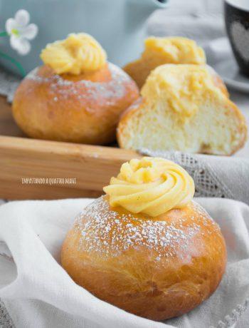 veneziane brioche lievitate con crema pasticcera per la colazione