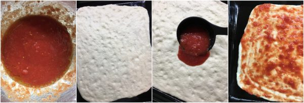 preparazione pizza in teglia con lievito madre