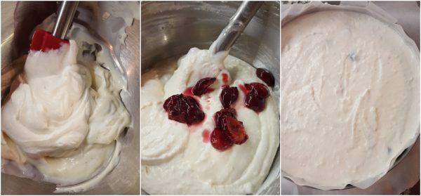 preparazione cheesecake alle ciliegie e yogurt greco senza cottura
