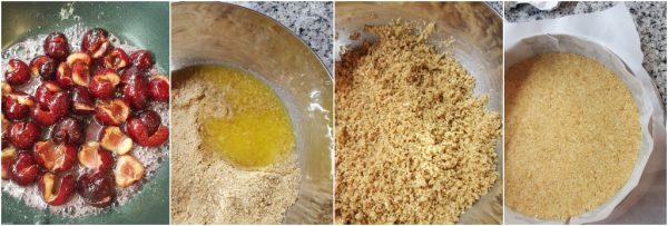 preparazione cheesecake alle ciliegie senza cottura