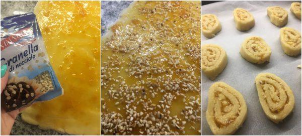 preparazione girelle biscotto di frolla con marmellata e granella di nocciole