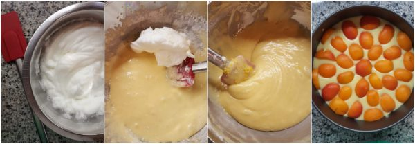 preparazione torta alle albicocche senza burro, con robiola