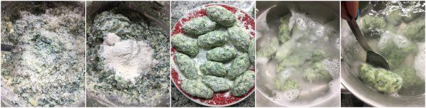 preparazione gnudi ricotta e spinaci