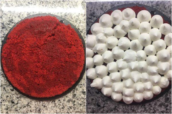 preparazione torta red velvet con camy cream