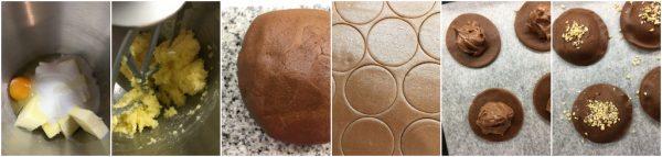 preparazione biscotti al cacao con cuore morbido