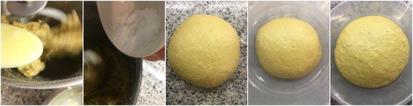 preparazione pan brioche al cioccolato bianco e zafferano con yogurt vaniglia
