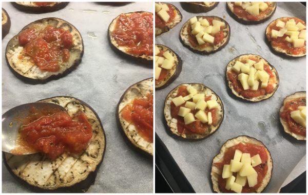 preparazione pizzette di melanzana