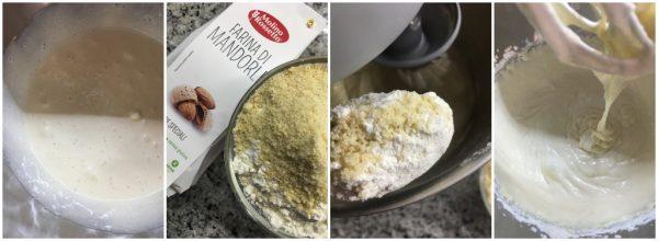 preparazione torta soffice alla ricotta e farina di mandorle