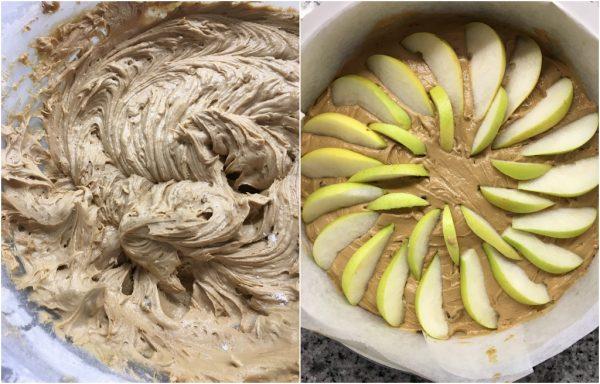 preparazione torta al muscovado con pere