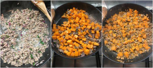 preparazione caserecce gratinate con zucca, salsiccia, carne macinata e besciamella