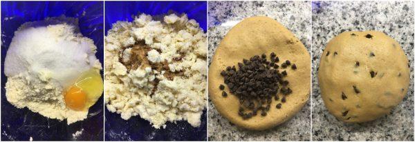 preparazione crinkle cookies al caffè