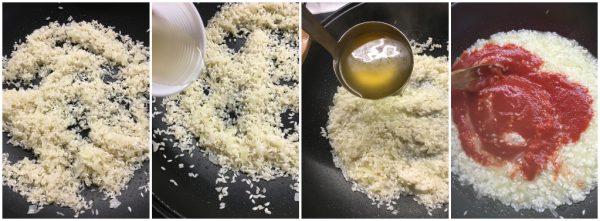 preparazione risotto al pomodoro filante