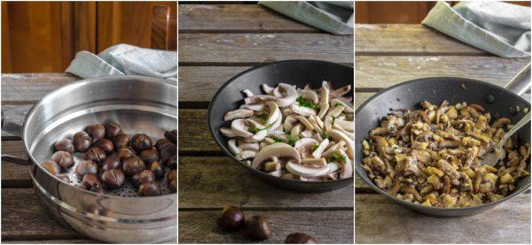preparazione rollè di tacchino con castagne e funghi