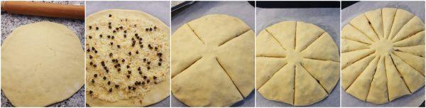 preparazione stella di natale di pan brioche con gocce di cioccolato e zucchero aromatizzato all'arancia