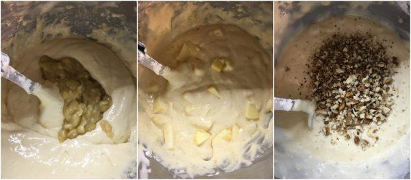 preparazione torta di mele con noci e banana nell'impasto