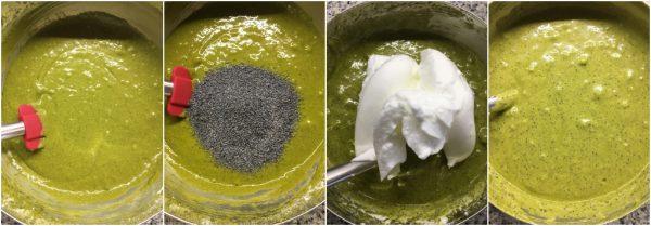 preparazione fluffosa al tè matcha con crema al mascarpone, chiffon cake