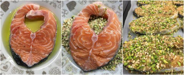 preparazione salmone in crosta di pistacchi e nocciole